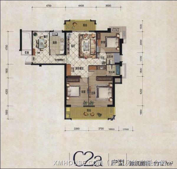 家天下三木城c2a户型图3室2厅2卫1厨127.00㎡