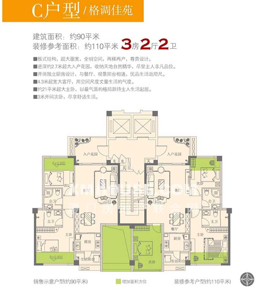 三房两厅两卫c平面层户型(90平方米)
