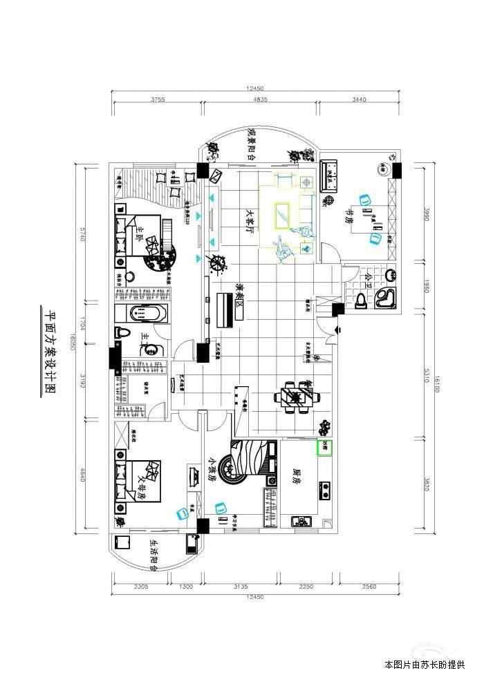9.2x12米房屋四房一厅设计图