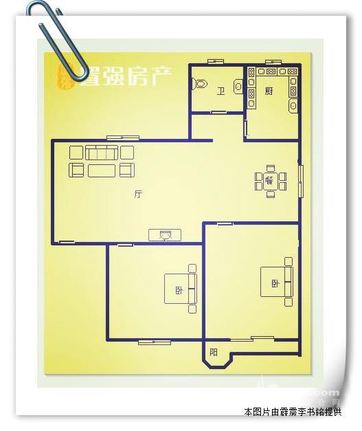 【房屋户型】: 2房2厅1卫1厨1阳台  龙昌里最好的两房户型, 5.