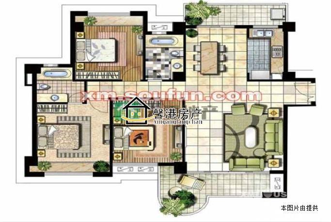海沧 中骏蓝湾半岛 ,大三房,带120平大露台,双学区