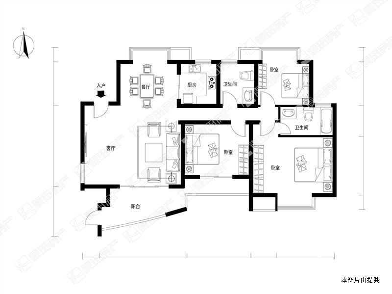 天源,南北通透四房,带60平私家露台,户型方正!